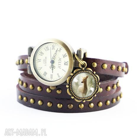 zegarki bransoletka, zegarek - sarna brązowy, nity, skórzany, bransoletka