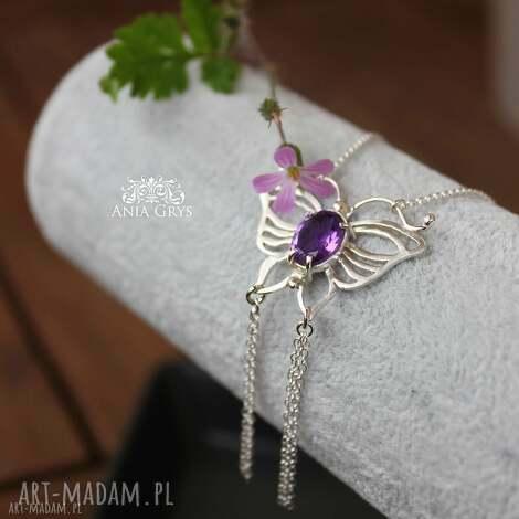 ametystowy motyl - motyl, ametyst, srebrnywisiorek, naszyjnik, aniagrys, gwiazdoo