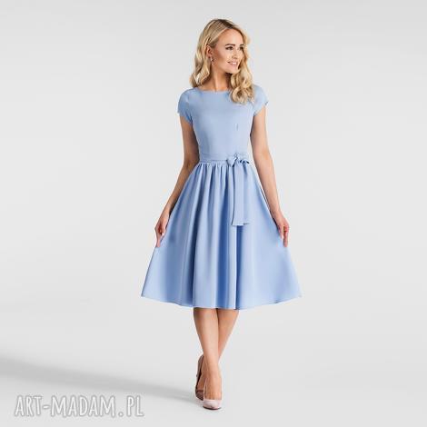sukienki sukienka marie midi niebieski, pasek, niebieska, sukienka