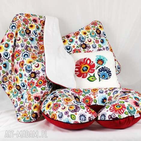 kocyk minky 75x100 folk kwiaty Łowickie - kocyk, dziecko, minky, kołderka, folk