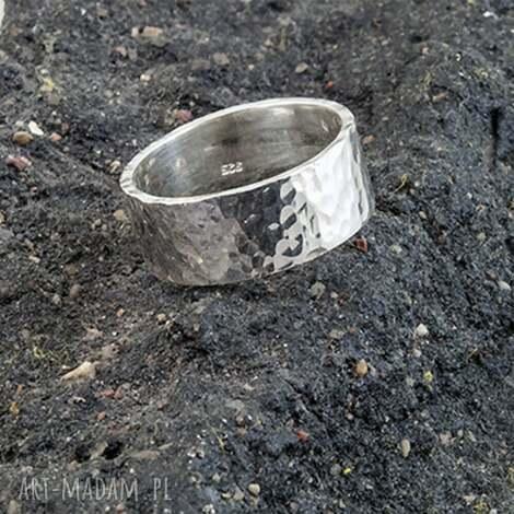 obrączka - pierścień, srebro 925, młotkowana, obrączka młotkowana