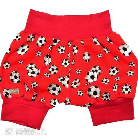czerwone piłki krótkie spodenki dla chłopca, pumpy niemowlęce, polska bawełna