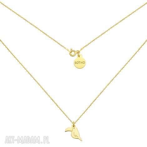 złoty naszyjnik z tukanem - naszyjnik, celebrytka, modowy, trendy, zółte