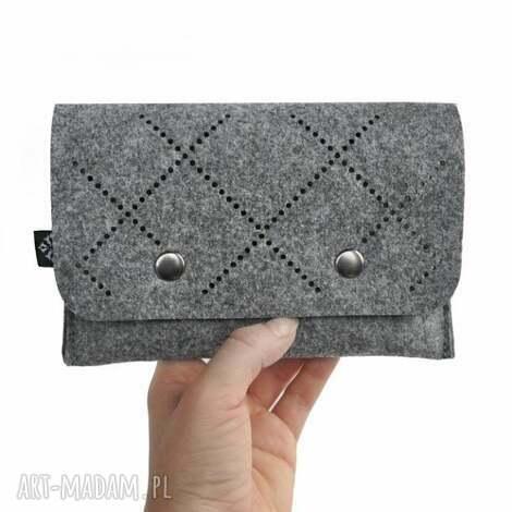beltrani portfel z filcu - ażurowy wzór vol 2 szary, filc, filcowy, ażurowy