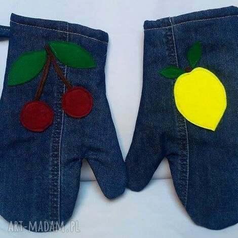 rękawice kuchenne - jeans, recykling, rękawice, kuchnia, praktyczne