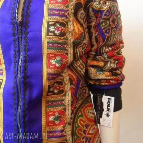 folk design kurtka letnia - niebieska2 - kurtka, letnia, góralska, chusta, folk