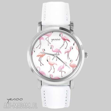 zegarki zegarek, bransoletka - flamingi biały, skórzany