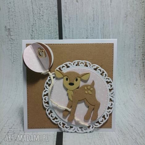 zaproszenie kartka bambi z balonem - sarna, balon, urodziny, sesja, las