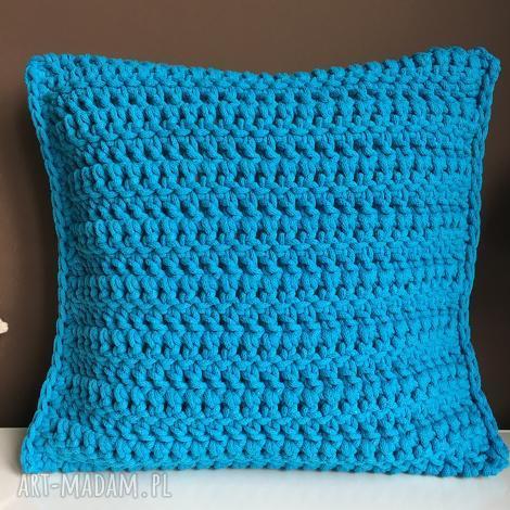 poduszka ze sznurka bawełnianego turkus 40x40 cm, poduszka, poszewka, sznurek