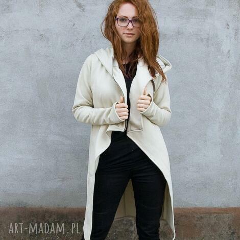 navahoclothing płaszcz asmi z kapturem asymetryczny, bluza, ciepła, na zamek