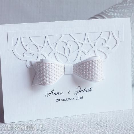 biala konwalia zaproszenia z kokardą - różne kolory, zaproszenie, ślub