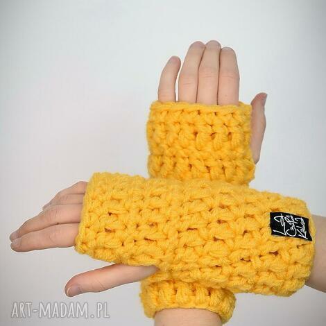 rękawiczki 24 - żółte - mitenki, upominek komplet zima ciepłe