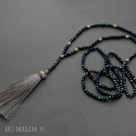 naszyjnik z chwostem - sznurek, elegancki, koraliki, granatowy, grafitowy, długi