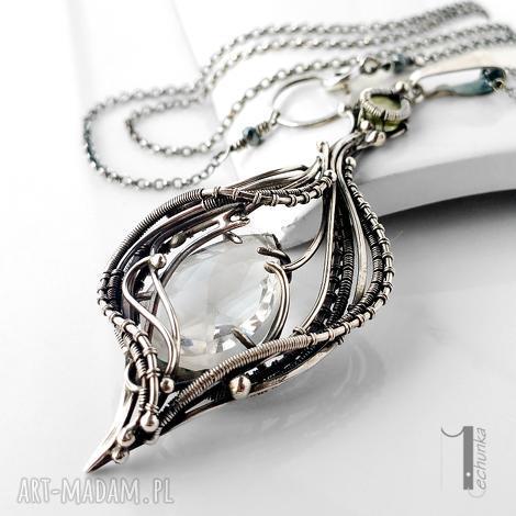 ravenna srebrny naszyjnik z kryształem górskim i zielonym granatem - srebro