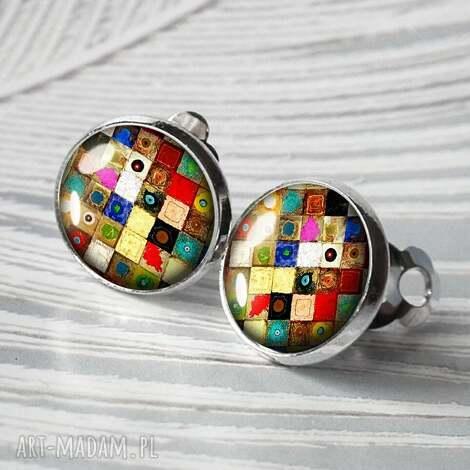 artistic mosaic- maŁe eleganckie klipsy - mozaika, kolorowe, klips, srebrne