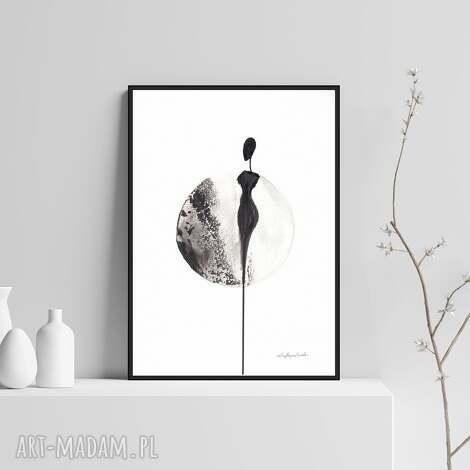 ręcznie malowany, abstrakcja czarno-biała elegancki minimalizm, styl skandynawski