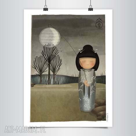 grafika lapatiq kokeshi sen o księżycu grafika, kokeshi, japońska, księżyc