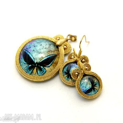 komplet biżuterii sutasz - motyl, sznurek, eleganckie, soutache, małe