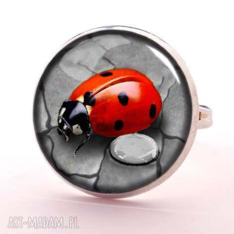 biedronka -pierścionek regulowany, pierścionek, szkło, biedronka, prezent