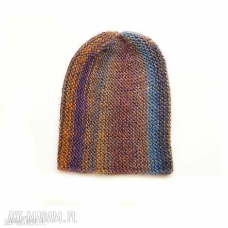 czapka multikolor no 1 - czapka, dziergana, unisex, kolorowa, wełniana