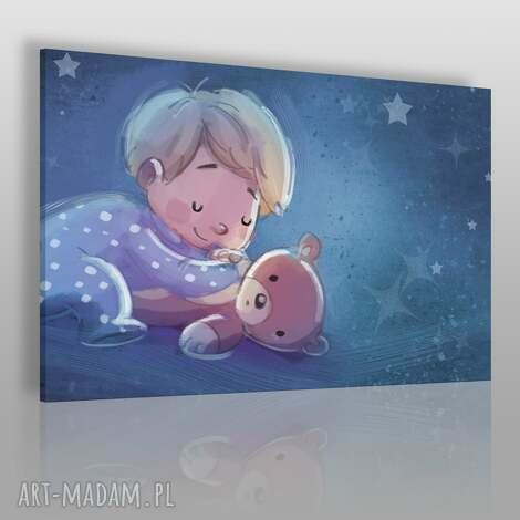 obraz na płótnie - dla dzieci chŁopiec miŚ - 120x80 cm 38501