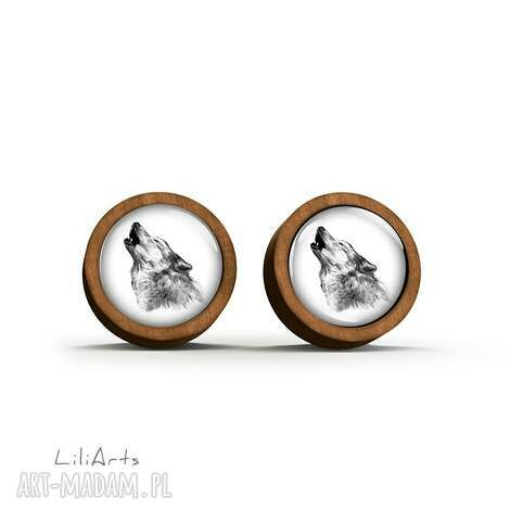 kolczyki drewniane - wilk sztyfty, kolczyki, wilk, drewno, leśne, sztyfty