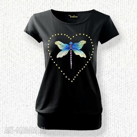 bawełniana malowana artystyczna bluzka, bluzka, damska, bawełna, ważka, serce