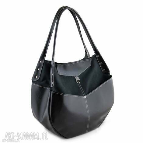 na ramię kaya - duża torba czarna, duża, pakowna, elegancka, oryginalna, prezent