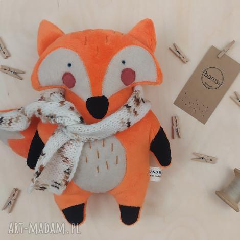 lis w nakrapianym szaliku - leśna przytulanka z minky, lisek, rudy, niespodzianka