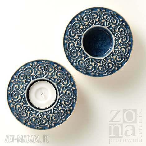 ceramika lampiony barokowe szaroniebieskie, lampion, świecznik, barokowy, ornamentowy