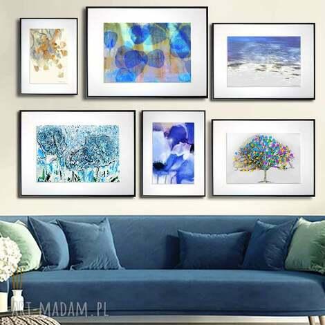 grafika w ramie z passe-partout niebieska radość 40x30, liście, natura