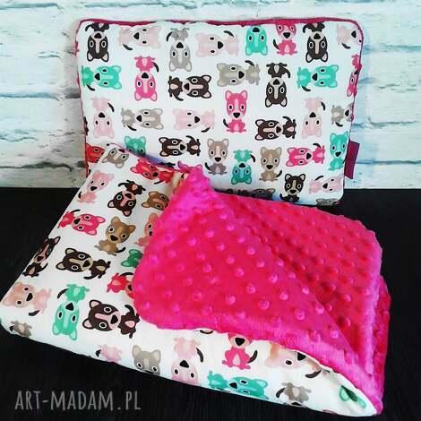 piękny kocyk dla dziewczynki, 75x100 plus podusia - komplet, minky, podusia, kocyk