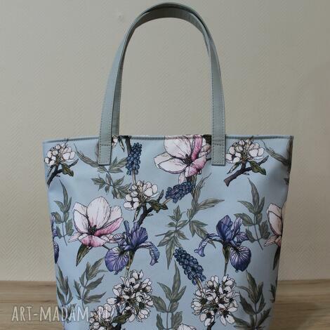 shopper bag bucket - irysy vintage, elegancka, shopper, kwiaty, pakowna