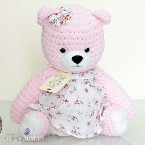 maskotki różowy miś na szydełku, miś, szydełkowy, prezent, pamiątka