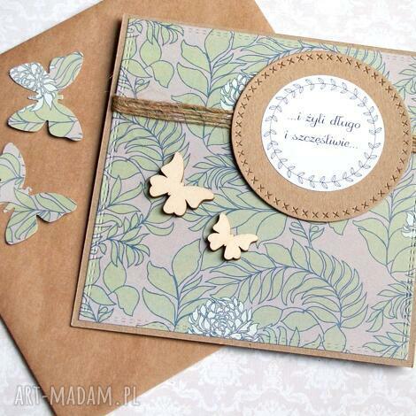 kartka ślubna handmade motyle, ślub, ślubna