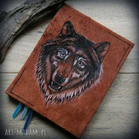 notesy notes a5 ze skórzaną twardą okładką wilk - ręcznie robiony i malowany