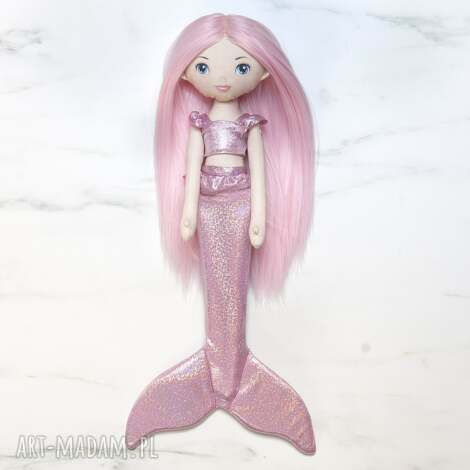lalka syrenka z jasno różowym ogonem, lalka, laleczka, księżniczka