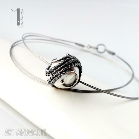 bianco viii - naszyjnik z perłą majorka - wirewrapping, srebro, perła, majorka