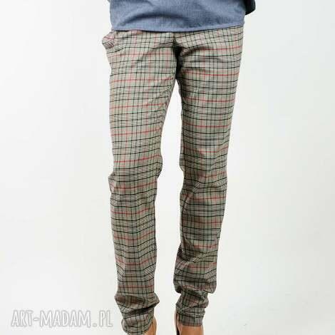 wiązane spodnie w kratę s, krata, kratka, dopasowane, eleganckie, talia, jesienne