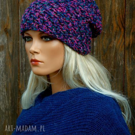 czapka handmade nr.21 kolorowa czapka, zimowa, wełniana, damska