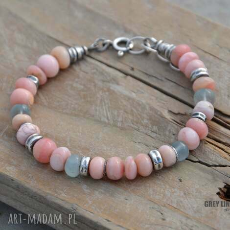 grey line project opal i akwamaryn bransoletka, srebro, opal, biżuteria