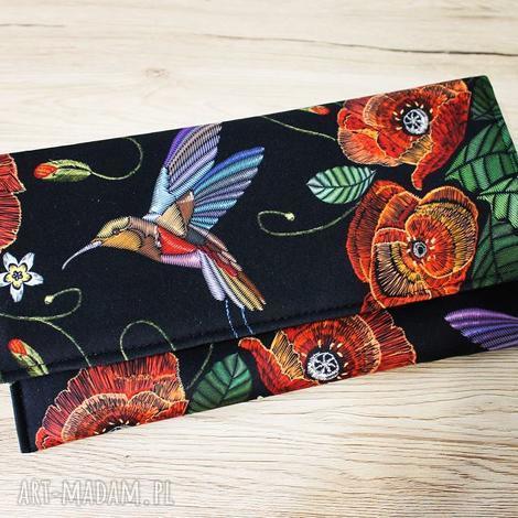 torebki niezwykle kopertówka - maki i koliber, elegancka, wizytowa, wieczorowa