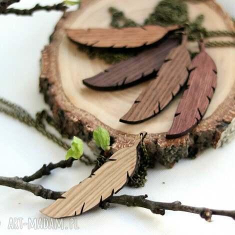 drewniany naszyjnik - piÓrko - naszyjnik, drewniany, piórko, wisiorek, naturalny