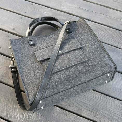 duża torba filcowa - do biura - grafitowa, duża, filcowa, filc
