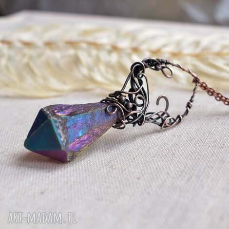 Pracownia Miedzi, kryształ tęczowy - wisior z kryształem kwarcu naszyjnik z kryształem