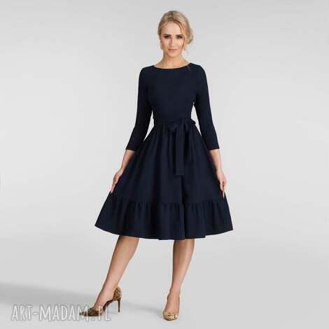 sukienki sukienka olga 3/4 midi granat, na jesień