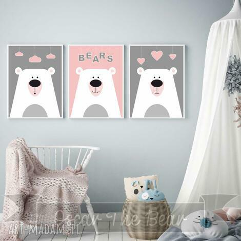 zestaw plakatÓw dla dzieci słodkie misie a4 - misie, różowe, plakaty