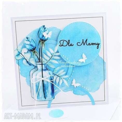 bukiet w butelce - kartka dla mamy, mama, bukiet, kwiaty, kartka, butelka