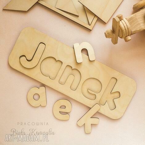 puzzle, układanka - imię, puzzle drewniane, dopasuj kształty, literki