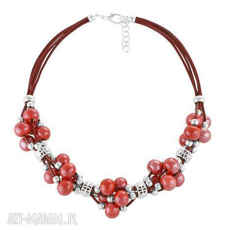 grapes - red - ceramika, rzemień